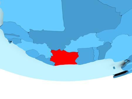 Illustration de côte-d & # 39 ; ivoire côte en rouge sur le bleu clair illustration de globe 3d Banque d'images - 87345152
