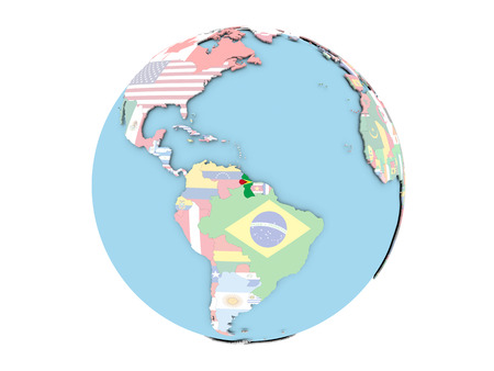 embedded: Guyana on political globe with embedded flags. 3D illustration isolated on white background.