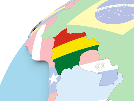 Mapa de Bolivia en el mundo político con bandera integrada. Ilustración 3D.