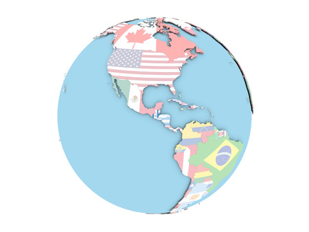 bandera de guatemala: Guatemala on political globe with embedded flags. 3D illustration isolated on white background.