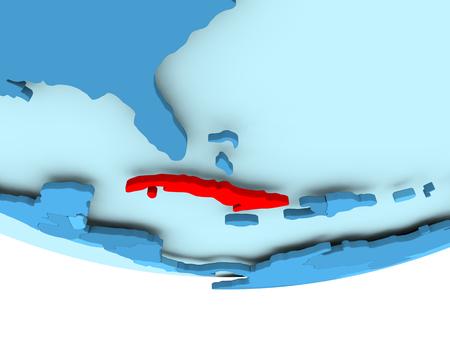 キューバの青いグローブを赤で強調表示のイラスト。3 D イラスト。 写真素材 - 87345179