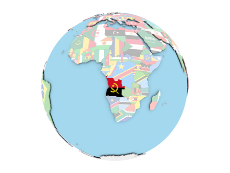 embedded: Angola on political globe with embedded flags. 3D illustration isolated on white background.