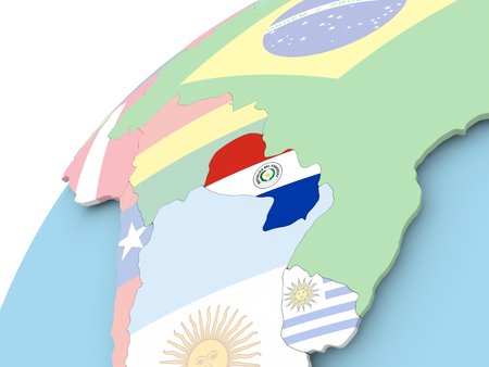 Map of Paraguay on political globe with embedded flag. 3D illustration. Stock Photo