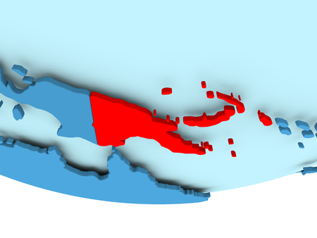 Illustration of Papua New Guinea highlighted in red on blue globe. 3D illustration. Stock Photo