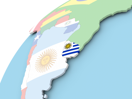 bandera de uruguay: Map of Uruguay on political globe with embedded flag. 3D illustration.