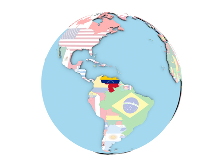 Venezuela on political globe with embedded flags. 3D illustration isolated on white background.