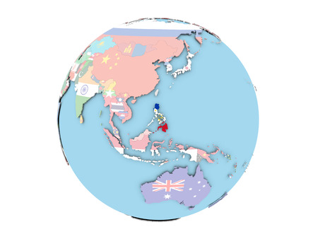 Philippines on political globe with embedded flags. 3D illustration isolated on white background. Reklamní fotografie - 87345204