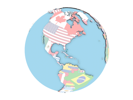 Bahamas on political globe with embedded flags. 3D illustration isolated on white background.