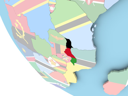 Malawi on bright political globe with embedded flag. 3D illustration.