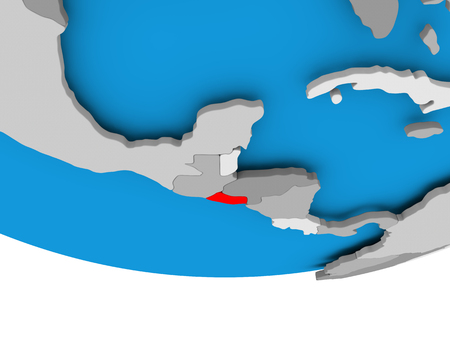 El Salvador on 3D model of political globe. 3D illustration. Stock Photo