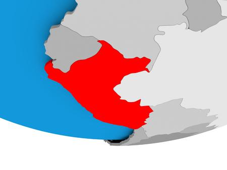 Perú en el modelo 3D del globo político. Ilustración 3D.