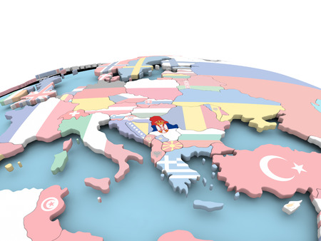 Serbia on political globe with embedded flags. 3D illustration.