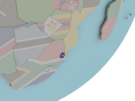 3D render of Swaziland on political globe with embedded flag. 3D illustration. Stock Photo