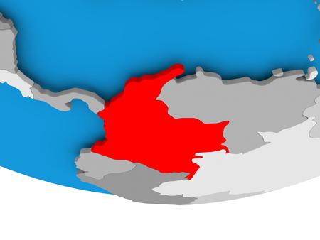 Colombia on 3D model of political globe. 3D illustration. Reklamní fotografie