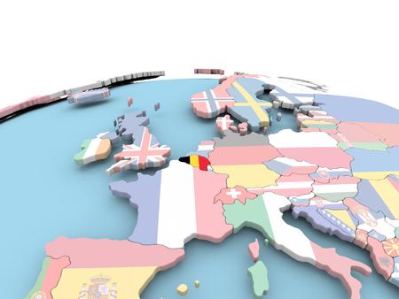 België op politieke wereld met ingebouwde vlaggen. 3D illustratie.