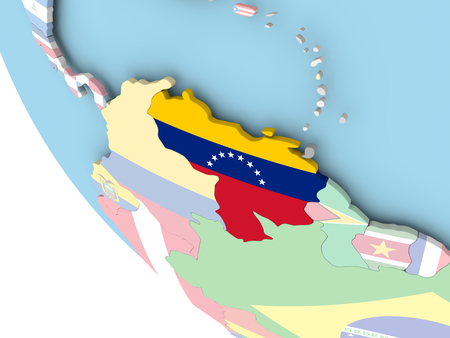 Venezuela on bright political globe with embedded flag. 3D illustration.