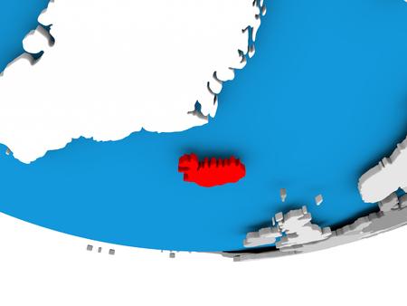 Iceland on 3D model of political globe. 3D illustration.