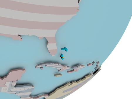 3D render of Bahamas on political globe with embedded flag. 3D illustration.