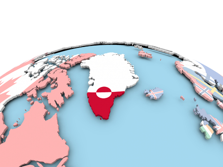Greenland on political globe with embedded flags. 3D illustration. Stock Photo