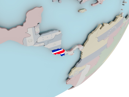 3D render of Costa Rica on political globe with embedded flag. 3D illustration.