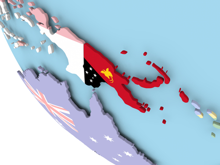 embedded: Papua New Guinea on bright political globe with embedded flag. 3D illustration. Stock Photo