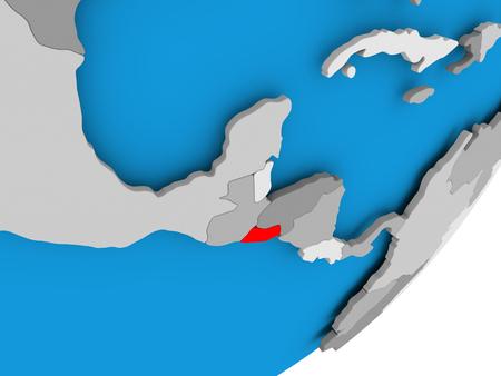 3D render of El Salvador on political globe. 3D illustration.