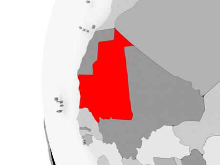 Mauritania highlighted on grey 3D model of political globe. 3D illustration. Фото со стока