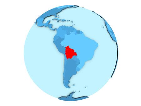 map bolivia: Bolivia destacó en rojo en el globo político azul. Ilustración 3D aislado sobre fondo blanco. Foto de archivo