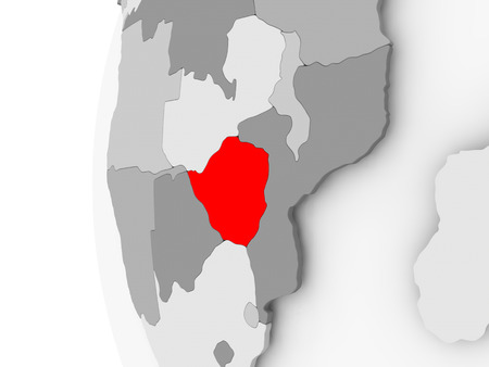 Zimbabwe highlighted on grey 3D model of political globe. 3D illustration.