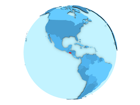 El Salvador highlighted in red on blue political globe. 3D illustration isolated on white background.