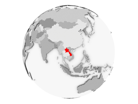 Laos highlighted in red on grey political globe. 3D illustration isolated on white background.