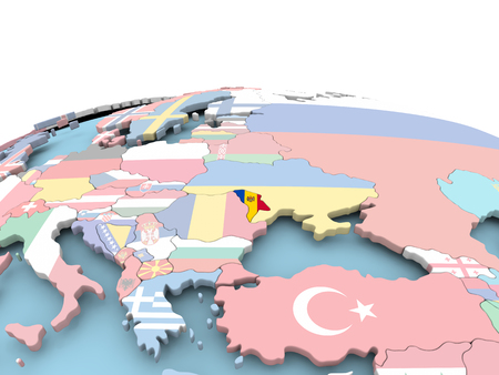 Moldova on political globe with embedded flags. 3D illustration.