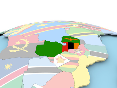 Zambia on political globe with embedded flags. 3D illustration.