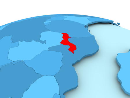 Map of Malawi in red on blue political globe. 3D illustration.