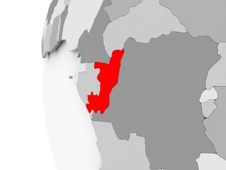 Der Kongo hob auf grauem 3D-Modell des politischen Globus hervor. 3D-Darstellung. Standard-Bild - 87662299