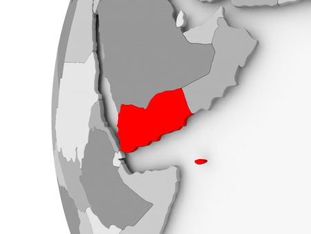 Yemen highlighted on grey 3D model of political globe. 3D illustration.