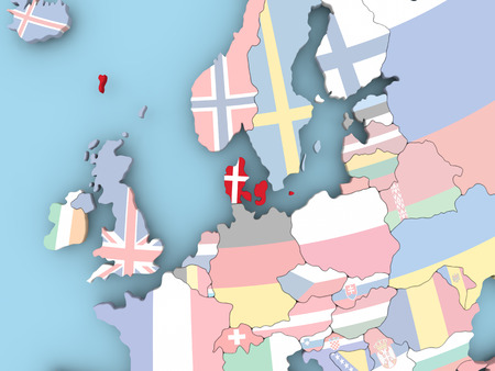 embedded: Belgium with embedded flag. 3D illustration. Stock Photo