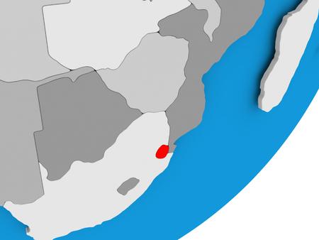 3D render of Swaziland on political globe. 3D illustration. Stock Photo
