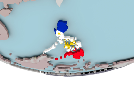 3D illustration of Philippines with embedded flag on political globe. 3D render. Stock Photo
