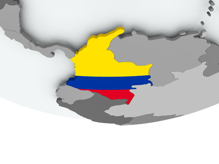 3D render of Colombia with flag on grey globe. 3D illustration. Stock Photo