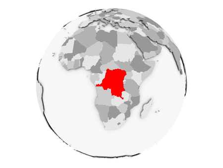Democratic Republic of Congo highlighted in red on grey political globe. 3D illustration isolated on white background.
