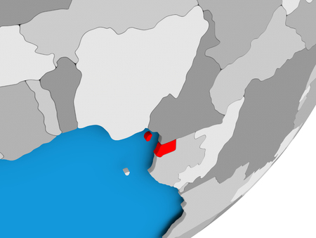 3D render of Equatorial Guinea on political globe. 3D illustration.