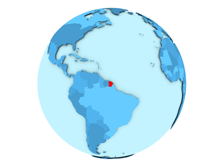 French Guiana highlighted in red on blue political globe. 3D illustration isolated on white background.