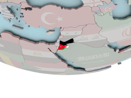 3D illustratie van Jordanië met ingesloten vlag op politieke wereld. 3D render.