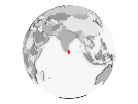 Sri Lanka highlighted in red on grey political globe. 3D illustration isolated on white background.