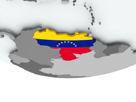 3D render of Venezuela with flag on grey globe. 3D illustration.