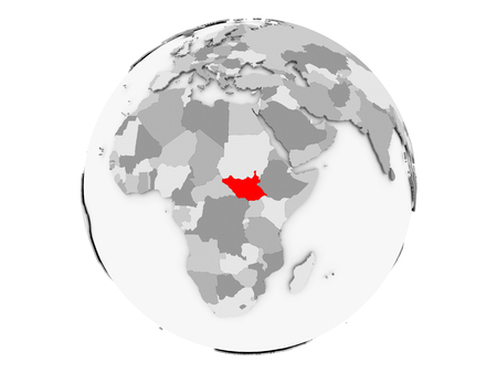 South Sudan highlighted in red on grey political globe. 3D illustration isolated on white background.