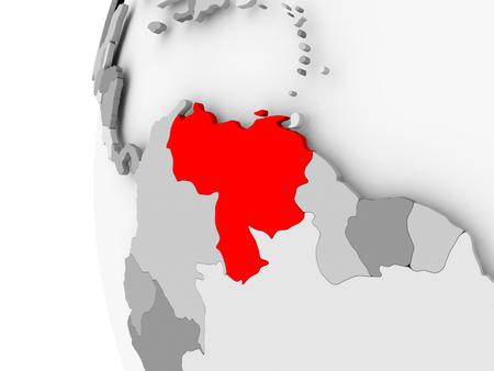 Venezuela highlighted on grey 3D model of political globe. 3D illustration. Foto de archivo