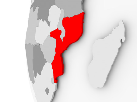 Mozambique highlighted on grey 3D model of political globe. 3D illustration.