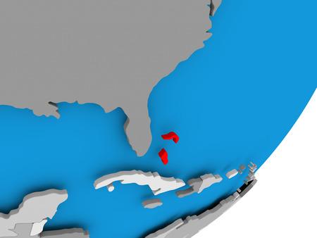 3D render of Bahamas on political globe. 3D illustration. Stock Photo